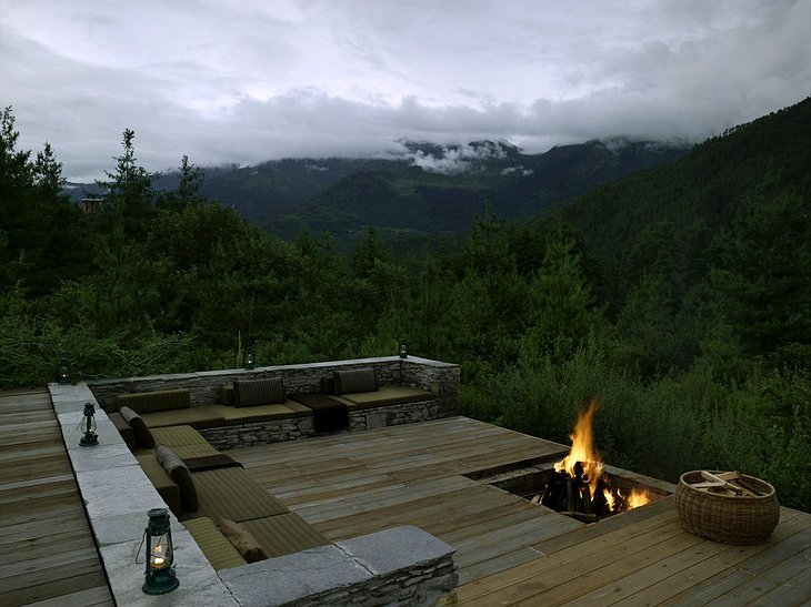 Amankora Resort Bhutan Terrace With Fireplace And Nature View
