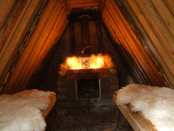 Inside the eco lodge hut