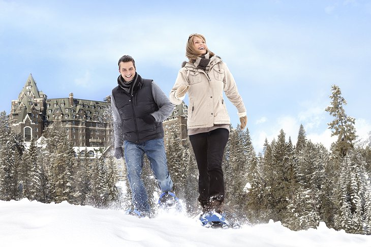 Couple snowshoeing in Banff