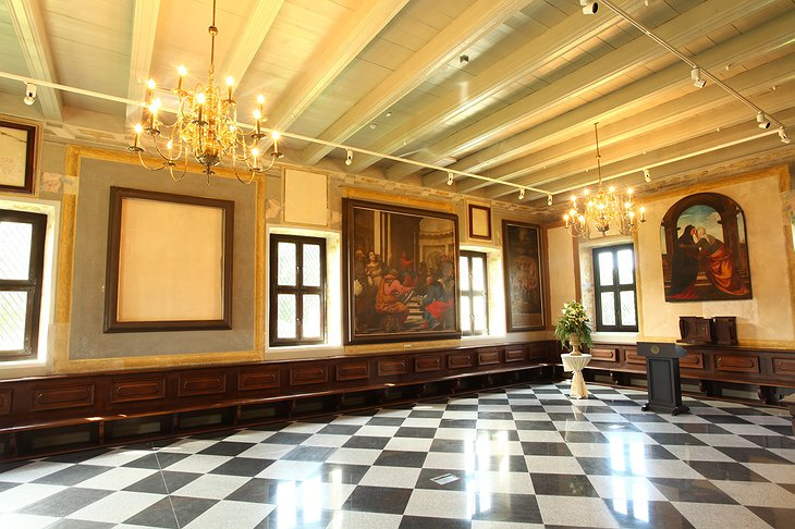 Hotel Monte Pacis historical interior with ancient paintings on the wall