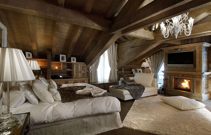 Grande Roche Chalet suite with fireplace