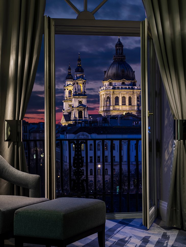The Ritz-Carlton Hotel Budapest balcony with view on the Basilica