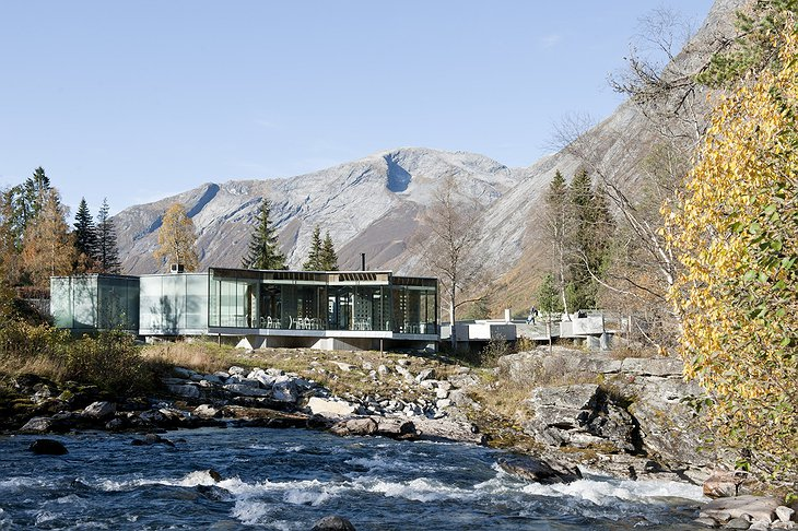 Juvet Landscape Hotel restaurant building set in the middle of nature