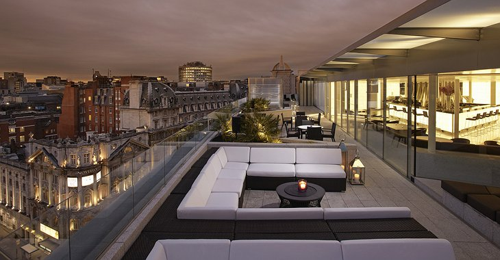Radio Rooftop terrace at night with London panorama