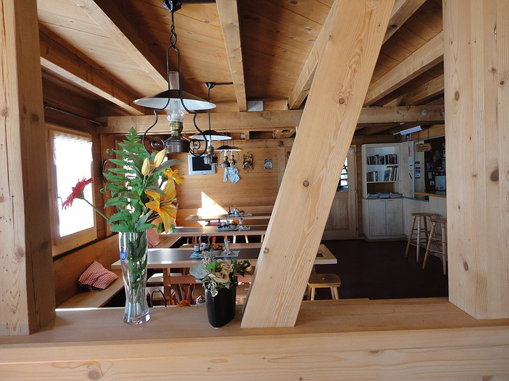 Mönchsjoch Hut wooden interior