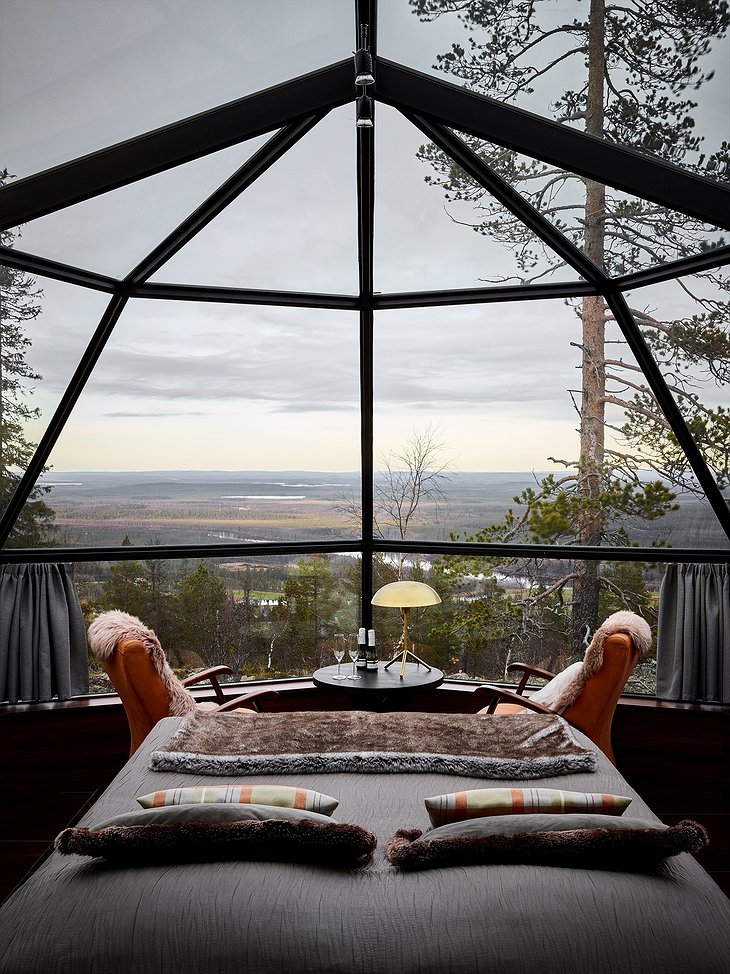Levin Iglut igloo views on the spring nature of Lapland from your bed