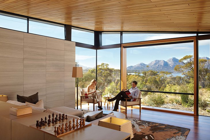 Saffire Freycinet hotel room with panoramic views and chess table