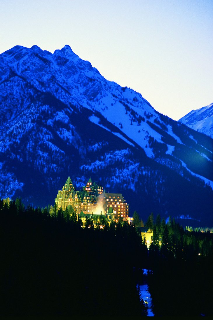 Fairmont Banff Springs Hotel at night all lit up