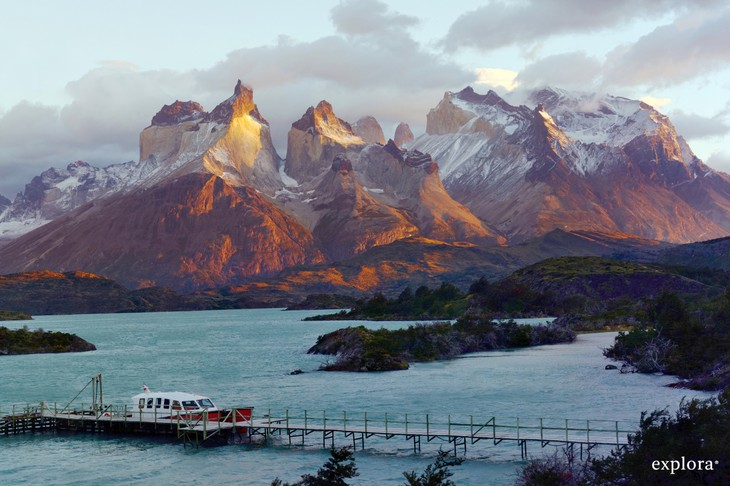 Andes mountains in Chile, docking at the Patagonia Hotel Explora