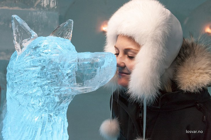 Ice sculpture and a girl