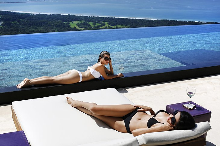 Girls at the infinity pool