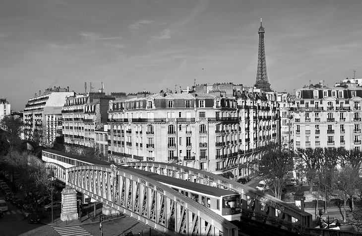 Black and white Paris panorama with Eiffel Tower