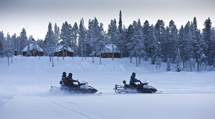 Snowmobile in Swedish Lapland