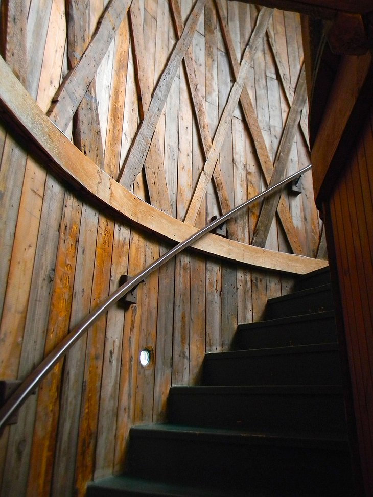Tree-house-like wooden staircase