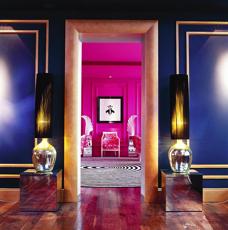 Entering the pink room in The G Hotel