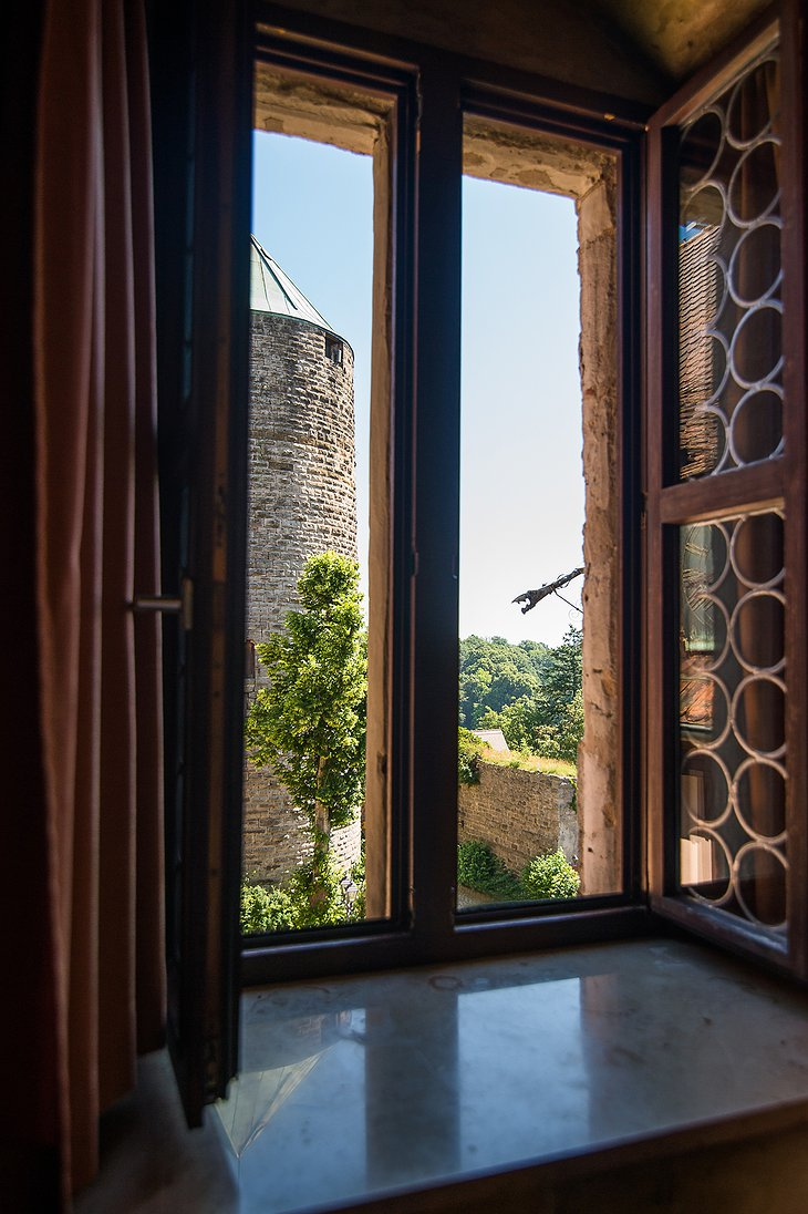 Burg Colmberg Hotel Window View on the Stone Tower