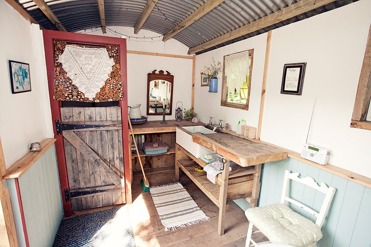 Shepherd hut kitchen