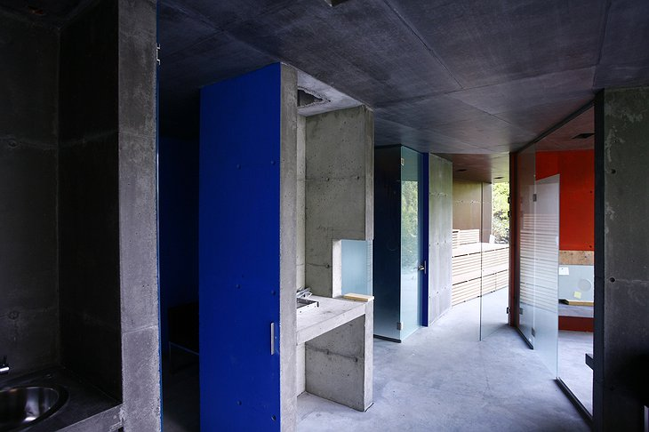 Concrete walls of the spa corridor
