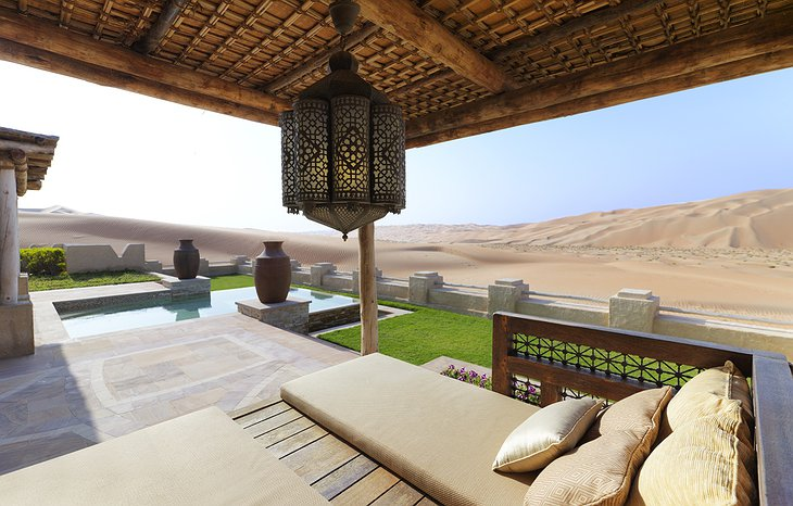 Qasr Al Sarab Desert Resort villa terrace with pool and desert panorama