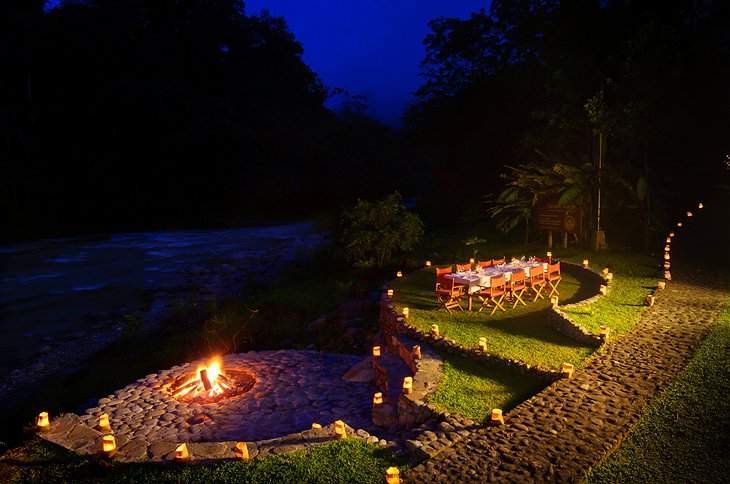 Pacuare Lodge romantic dinner at the river