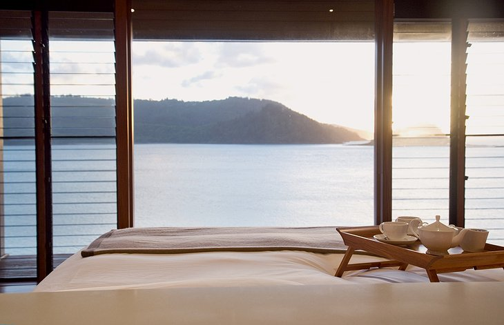 Qualia Hamilton Island bed with sea views