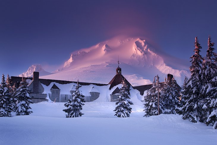 Timberline Lodge in snow