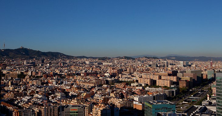 Panorama of Barcelona from the Porta Fira Hotel