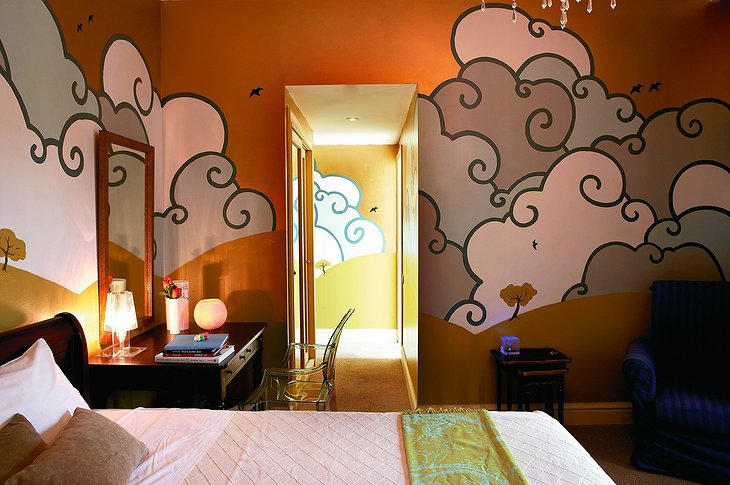 Baby Grand Hotel cartoon clouds room