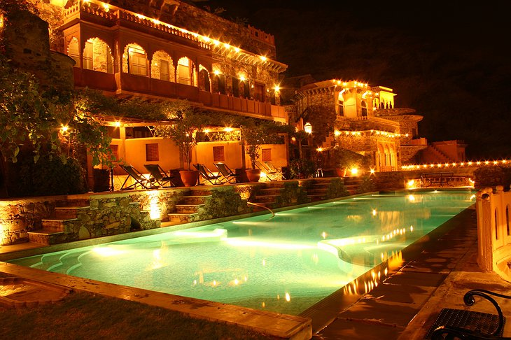 Neemrana Fort Palace swimming pool at night