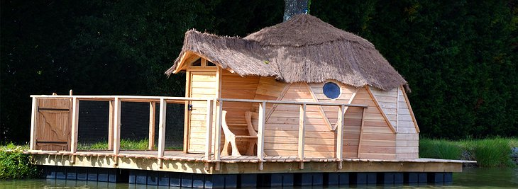 Floating wooden hut