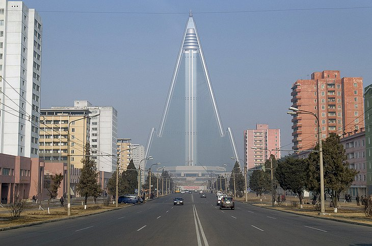 Pyongyang roads leading to Ryugyong Hotel tower