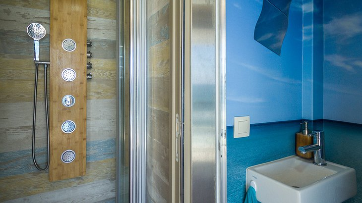 Truck Surf Hotel bathroom with shower
