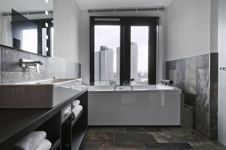 bathroom with city view