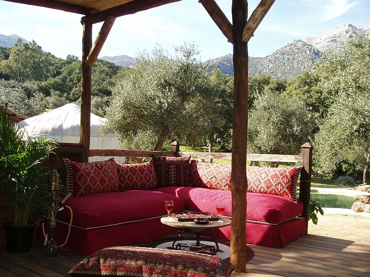 The Hoopoe Yurt Hotel pool pergola