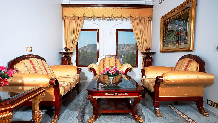 The Raj Palace seating with mountain views