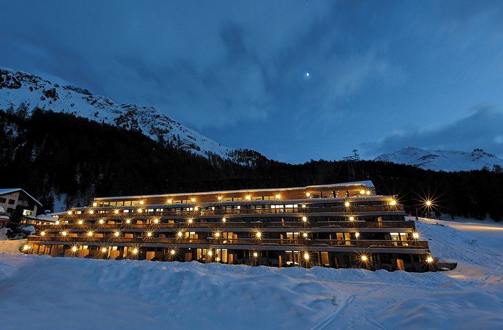 Nira Alpina exterior at night during winter