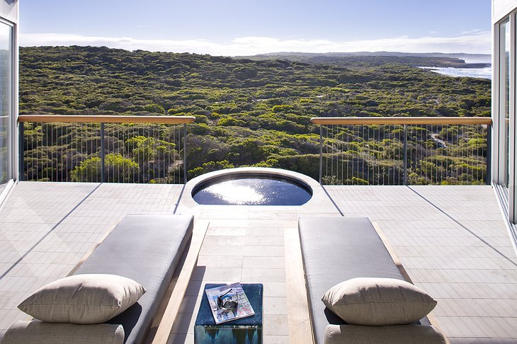 Jacuzzi on the private terrace on the Kangaroo Island