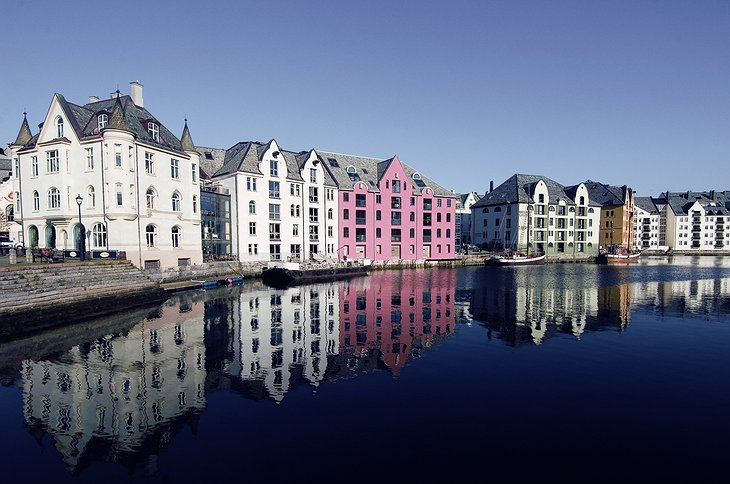 Alesund harbour with historical buildings