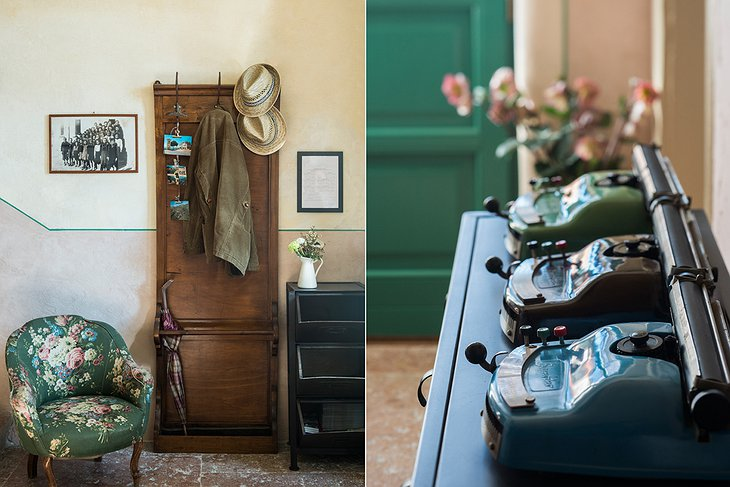 La Scuola Guesthouse entrance and vintage telephones