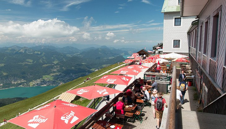 Hotel Schafberg terrace with lake panorama