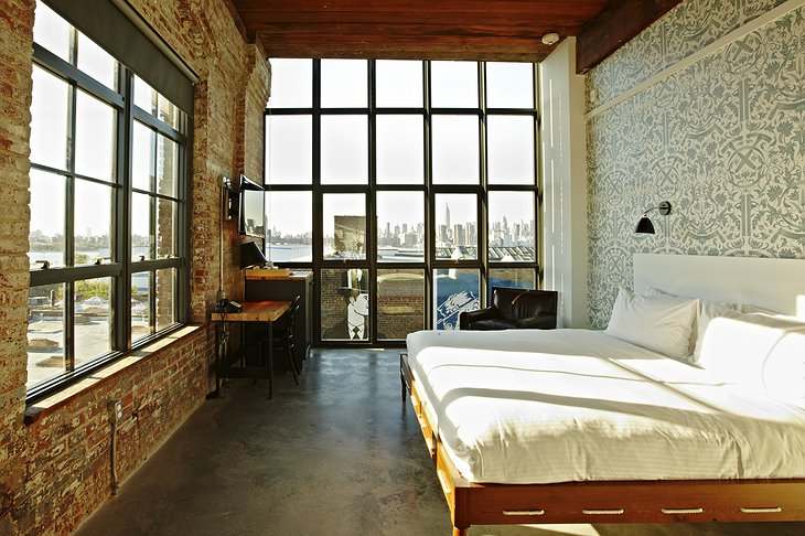 Wythe Hotel room with New York skyline panorama