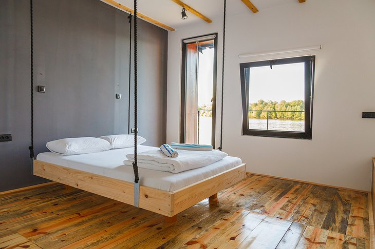 ArkaBarka Floating Hostel bedroom with levitating bed