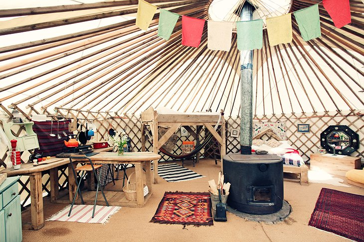 Black Mountains Yurt wooden stove