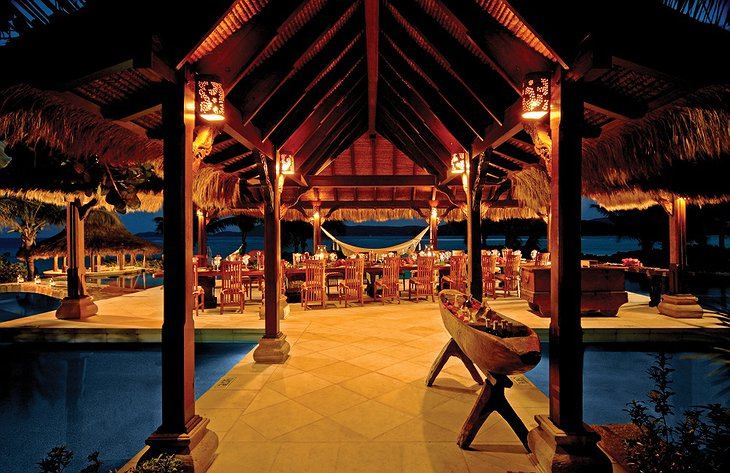 Necker Island night dining with pools around