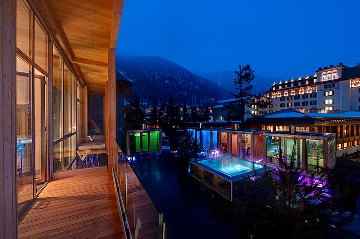 Backstage Hotel Zermatt Private Balcony with View on the Pool and Saunas