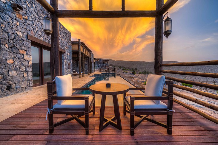 Alila Jabal Akhdar terrace with pool in the evening