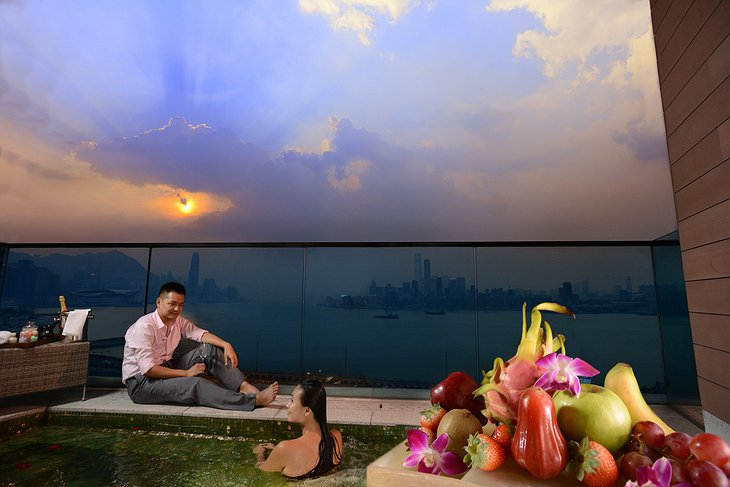 Harbour Grand Hong Kong terrace and a romantic couple