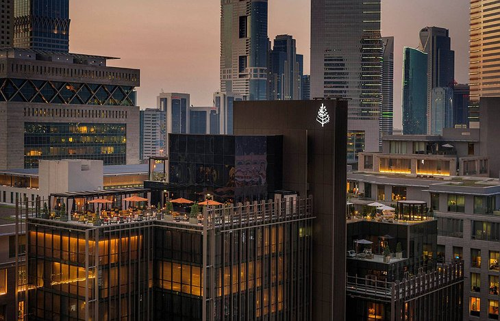 Four Seasons Dubai DIFC rooftop aerial in the evening