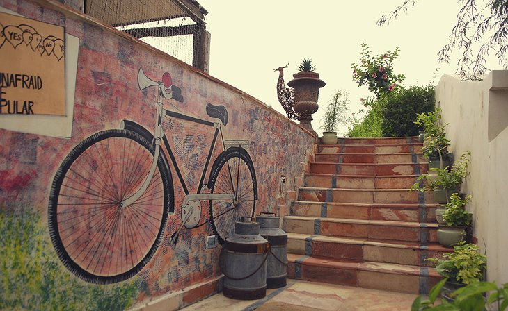 The Farm, Jaipur stairs and decorated wall
