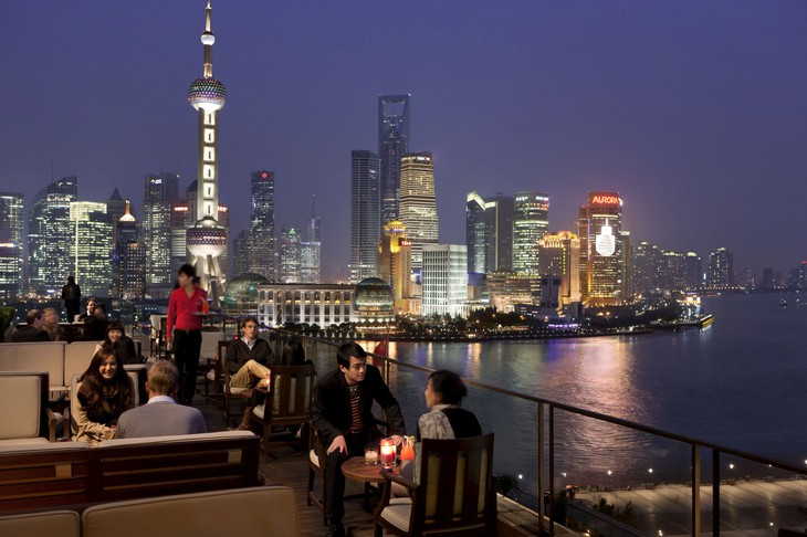 The Peninsula rooftop terrace with Shanghai skyline panorama